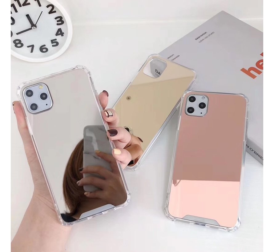 iPhone 12 Pro Anti Shock Hoesje met Spiegel - Extra Dun - Hoes - Cover - Case - Mirror - Apple iPhone 12 Pro - Rose Goud