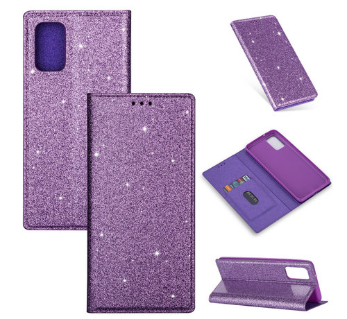 JVS Products iPhone XS Max Glitter Book Case Hoesje - TPU - Magnetische Sluiting - Pasjeshouder - Apple iPhone XS Max - Paars