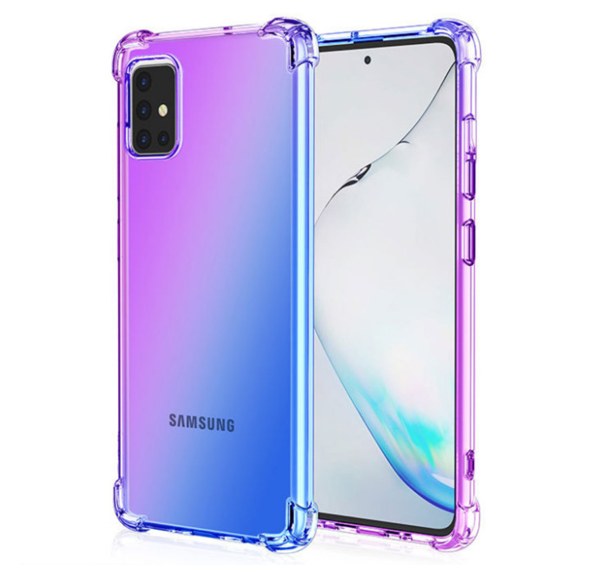 iPhone 12 Pro Max Anti Shock Hoesje Transparant Extra Dun - Apple iPhone 12 Pro Max Hoes Cover Case - Paars/Blauw