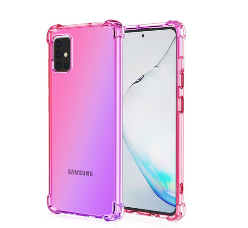 JVS Products Samsung Galaxy A51 Anti Shock Hoesje Transparant Extra Dun - Samsung Galaxy A51 Hoes Cover Case - Roze/Paars