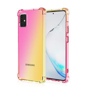 JVS Products Samsung Galaxy A51 Anti Shock Hoesje Transparant Extra Dun - Samsung Galaxy A51 Hoes Cover Case - Roze/Geel