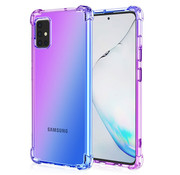 JVS Products Samsung Galaxy A71 Anti Shock Hoesje Transparant Extra Dun - Samsung Galaxy A71 Hoes Cover Case - Paars/Blauw