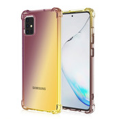 JVS Products Samsung Galaxy A71 Anti Shock Hoesje Transparant Extra Dun - Samsung Galaxy A71 Hoes Cover Case - Bruin/Geel