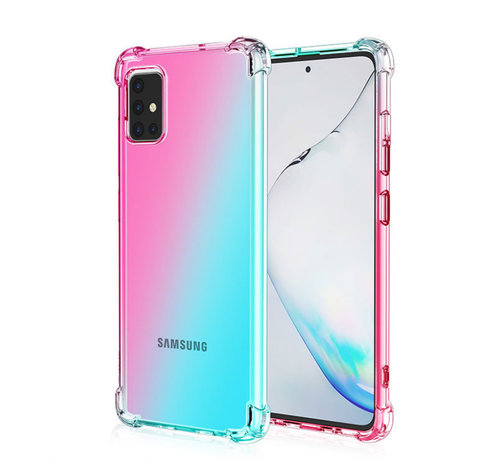 JVS Products Samsung Galaxy A71 Anti Shock Hoesje Transparant Extra Dun - Samsung Galaxy A71 Hoes Cover Case - Roze/Turquoise
