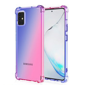 JVS Products Samsung Galaxy A71 Anti Shock Hoesje Transparant Extra Dun - Samsung Galaxy A71 Hoes Cover Case - Blauw/Roze