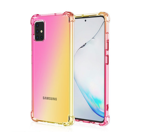 JVS Products Samsung Galaxy A71 Anti Shock Hoesje Transparant Extra Dun - Samsung Galaxy A71 Hoes Cover Case - Roze/Geel