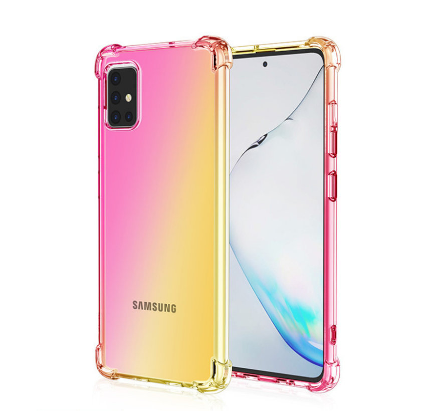 Samsung Galaxy A71 Anti Shock Hoesje Transparant Extra Dun - Samsung Galaxy A71 Hoes Cover Case - Roze/Geel