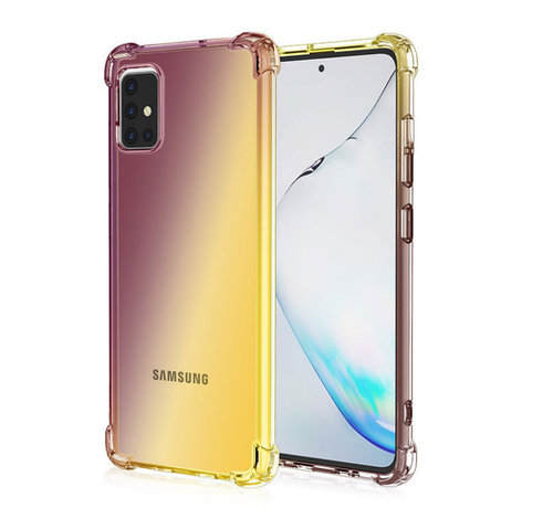 JVS Products Samsung Galaxy A42 Anti Shock Hoesje Transparant Extra Dun - Samsung Galaxy A42 Hoes Cover Case - Bruin/Geel