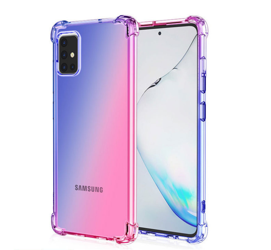 Samsung Galaxy A52 Anti Shock Hoesje Transparant Extra Dun - Samsung Galaxy A52 Hoes Cover Case - Blauw/Roze