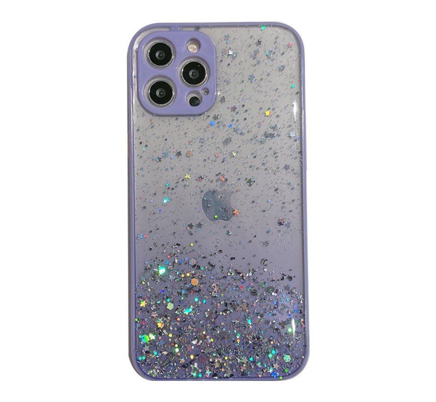 iPhone 7 Transparant Glitter Hoesje met Camera Bescherming - Back Cover Siliconen Case TPU - Apple iPhone 7 – Paars