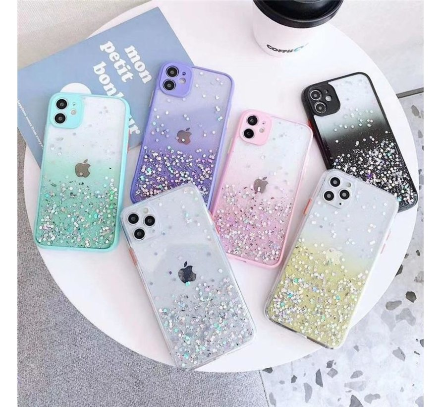 iPhone XR Transparant Glitter Hoesje met Camera Bescherming - Back Cover Siliconen Case TPU - Apple iPhone XR – Paars