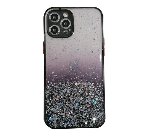 JVS Products iPhone XS Transparant Glitter Hoesje met Camera Bescherming - Back Cover Siliconen Case TPU - Apple iPhone XS – Zwart