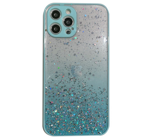 JVS Products iPhone 11 Pro Max Transparant Glitter Hoesje met Camera Bescherming - Back Cover Siliconen Case TPU - Apple iPhone 11 Pro Max – Lichtblauw