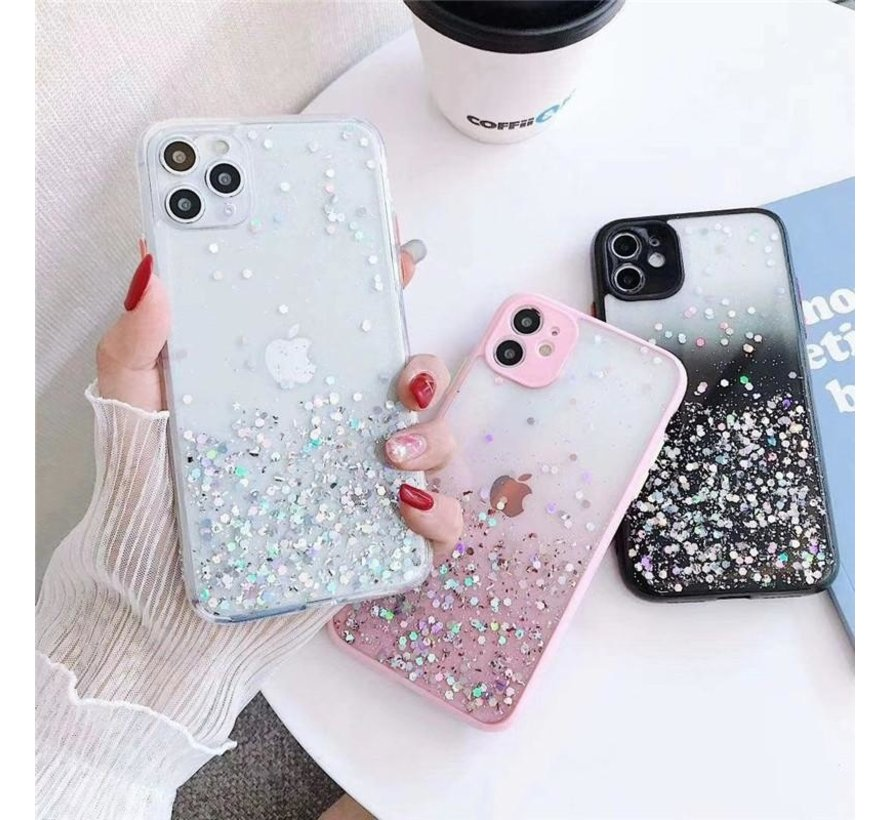 iPhone 11 Pro Max Transparant Glitter Hoesje met Camera Bescherming - Back Cover Siliconen Case TPU - Apple iPhone 11 Pro Max – Paars