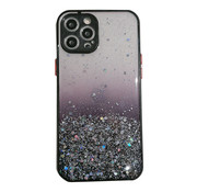 JVS Products iPhone 11 Pro Max Transparant Glitter Hoesje met Camera Bescherming - Back Cover Siliconen Case TPU - Apple iPhone 11 Pro Max – Zwart