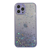 JVS Products iPhone 12 Pro Transparant Glitter Hoesje met Camera Bescherming - Back Cover Siliconen Case TPU - Apple iPhone 12 Pro – Paars