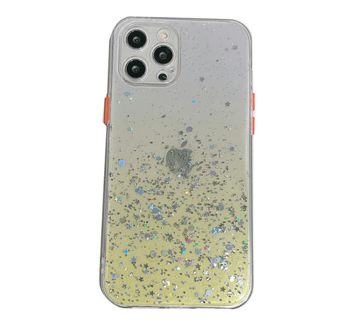 JVS Products iPhone 12 Pro Transparant Glitter Hoesje met Camera Bescherming - Back Cover Siliconen Case TPU - Apple iPhone 12 Pro – Geel