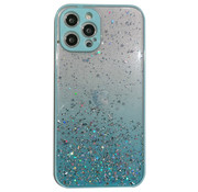 JVS Products iPhone 12 Pro Max Transparant Glitter Hoesje met Camera Bescherming - Back Cover Siliconen Case TPU - Apple iPhone 12 Pro Max – Lichtblauw
