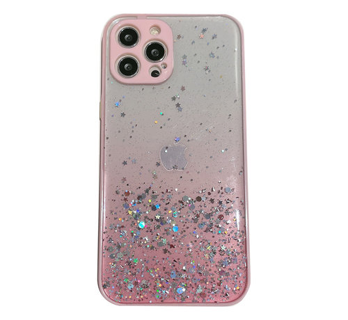 JVS Products iPhone 12 Pro Max Transparant Glitter Hoesje met Camera Bescherming - Back Cover Siliconen Case TPU - Apple iPhone 12 Pro Max – Roze