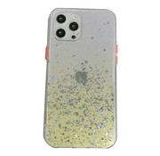 JVS Products iPhone 12 Pro Max Transparant Glitter Hoesje met Camera Bescherming - Back Cover Siliconen Case TPU - Apple iPhone 12 Pro Max – Geel