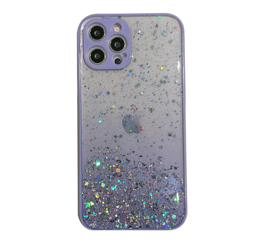 Samsung Galaxy S20 Ultra Transparant Glitter Hoesje met Camera Bescherming - Back Cover Siliconen Case TPU - Samsung Galaxy S20 Ultra – Paars