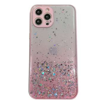 JVS Products Samsung Galaxy A21S Transparant Glitter Hoesje met Camera Bescherming - Back Cover Siliconen Case TPU - Samsung Galaxy A21S – Roze