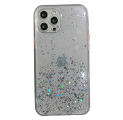JVS Products Samsung Galaxy A21S Transparant Glitter Hoesje met Camera Bescherming - Back Cover Siliconen Case TPU - Samsung Galaxy A21S – Transparant