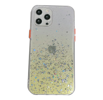 JVS Products Samsung Galaxy A22 5G Transparant Glitter Hoesje met Camera Bescherming - Back Cover Siliconen Case TPU - Samsung Galaxy A22 5G – Geel