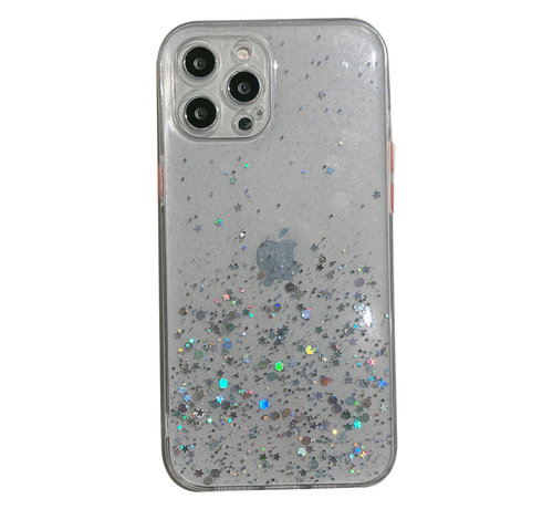 JVS Products Samsung Galaxy A42 Transparant Glitter Hoesje met Camera Bescherming - Back Cover Siliconen Case TPU - Samsung Galaxy A42 – Transparant
