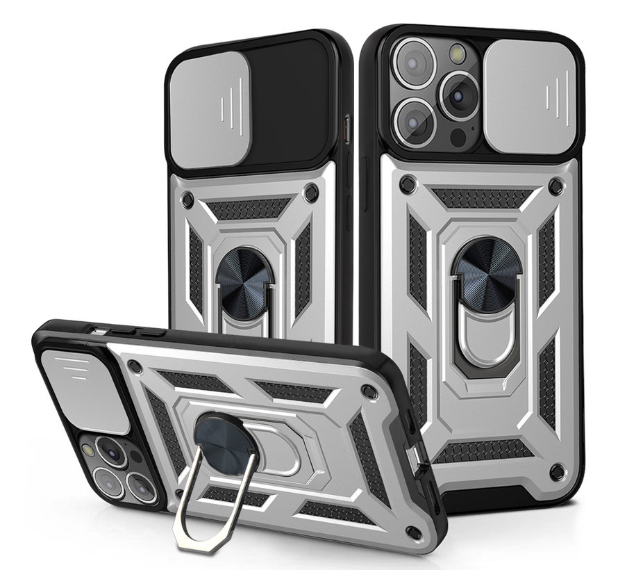 iPhone XS Max Rugged Armor Back Cover Hoesje met Camera Bescherming - Stevig - Heavy Duty - TPU - Apple iPhone XS Max - Zilver