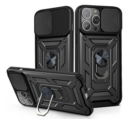 JVS Products iPhone 11 Pro Max Rugged Armor Back Cover Hoesje met Camera Bescherming - Stevig - Heavy Duty - TPU - Apple iPhone 11 Pro Max - Zwart