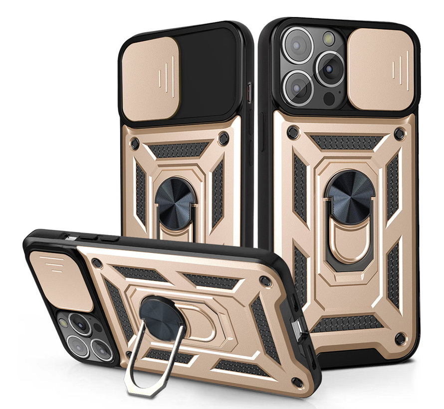 iPhone 11 Pro Max Rugged Armor Back Cover Hoesje met Camera Bescherming - Stevig - Heavy Duty - TPU - Apple iPhone 11 Pro Max - Goud