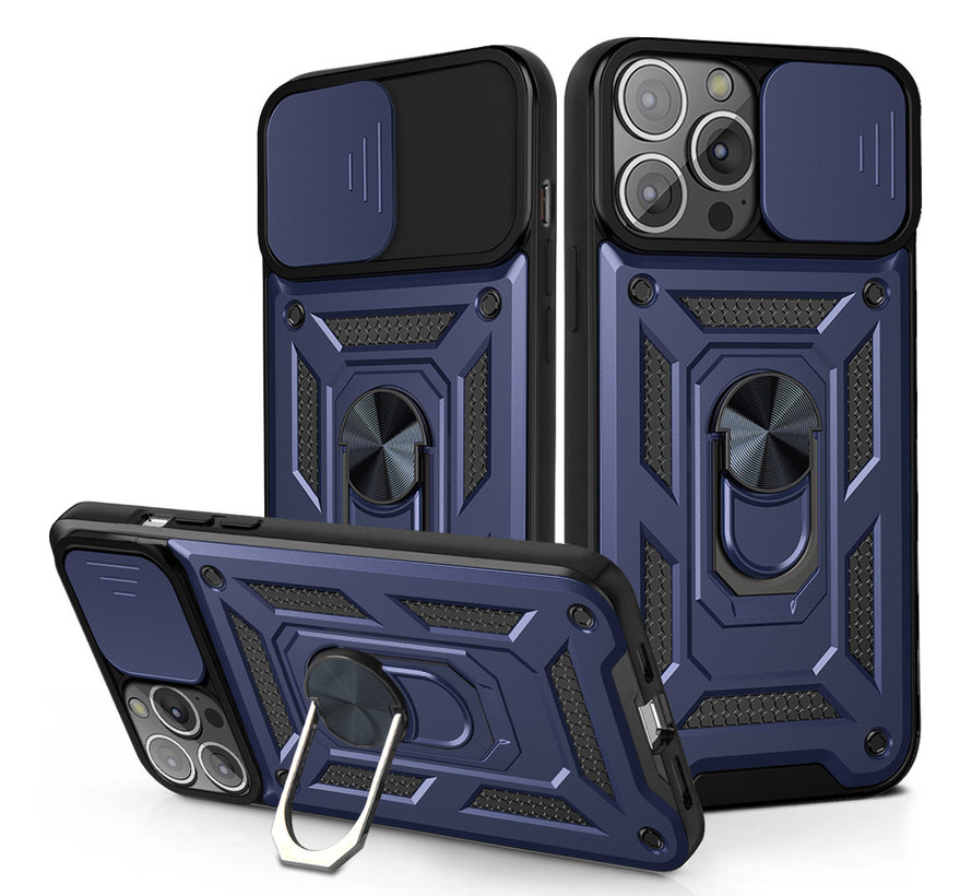 iPhone 11 Pro Max Rugged Armor Back Cover Hoesje met Camera Bescherming - Stevig - Heavy Duty - TPU - Apple iPhone 11 Pro Max - Blauw