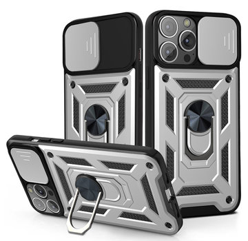 JVS Products iPhone 12 Rugged Armor Back Cover Hoesje met Camera Bescherming - Stevig - Heavy Duty - TPU - Apple iPhone 12 - Zilver