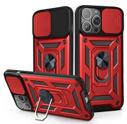JVS Products iPhone 12 Rugged Armor Back Cover Hoesje met Camera Bescherming - Stevig - Heavy Duty - TPU - Apple iPhone 12 - Rood