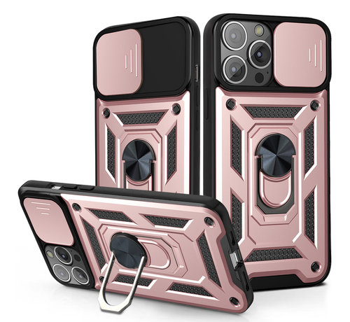 JVS Products iPhone 12 Pro Rugged Armor Back Cover Hoesje met Camera Bescherming - Stevig - Heavy Duty - TPU - Apple iPhone 12 Pro - Rose Goud