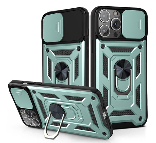JVS Products iPhone 12 Pro Max Rugged Armor Back Cover Hoesje met Camera Bescherming - Stevig - Heavy Duty - TPU - Apple iPhone 12 Pro Max - Groen
