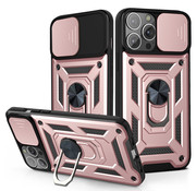 JVS Products iPhone 12 Pro Max Rugged Armor Back Cover Hoesje met Camera Bescherming - Stevig - Heavy Duty - TPU - Apple iPhone 12 Pro Max - Rose Goud