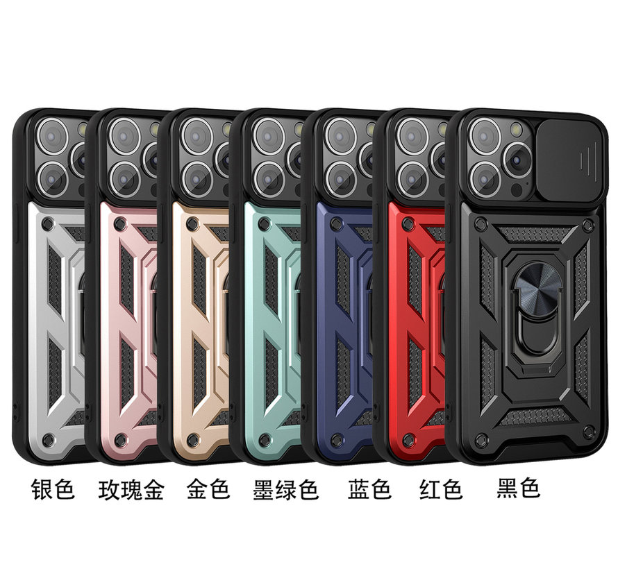 iPhone 12 Pro Max Rugged Armor Back Cover Hoesje met Camera Bescherming - Stevig - Heavy Duty - TPU - Apple iPhone 12 Pro Max - Zilver