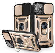 JVS Products iPhone 12 Pro Max Rugged Armor Back Cover Hoesje met Camera Bescherming - Stevig - Heavy Duty - TPU - Apple iPhone 12 Pro Max - Goud