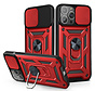 iPhone 12 Pro Max Rugged Armor Back Cover Hoesje met Camera Bescherming - Stevig - Heavy Duty - TPU - Apple iPhone 12 Pro Max - Rood