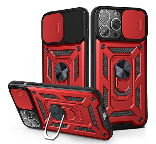 JVS Products Samsung Galaxy A52 Rugged Armor Back Cover Hoesje met Camera Bescherming - Stevig - Heavy Duty - TPU - Samsung Galaxy A52 - Rood