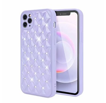 JVS Products iPhone XR Luxe Diamanten Back Cover Hoesje - Siliconen - Diamantpatroon - Back Cover - Apple iPhone XR - Paars