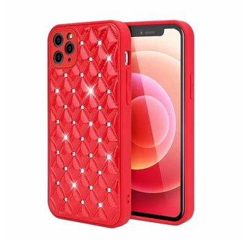 JVS Products iPhone XS Max Luxe Diamanten Back Cover Hoesje - Siliconen - Diamantpatroon - Back Cover - Apple iPhone XS Max - Rood