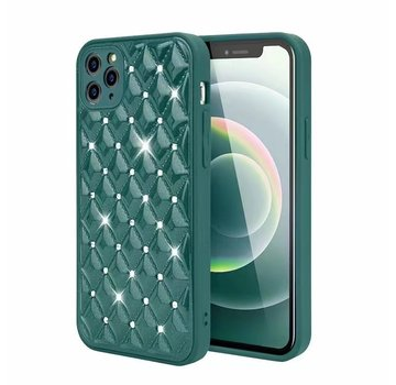 JVS Products iPhone XS Max Luxe Diamanten Back Cover Hoesje - Siliconen - Diamantpatroon - Back Cover - Apple iPhone XS Max - Donkergroen