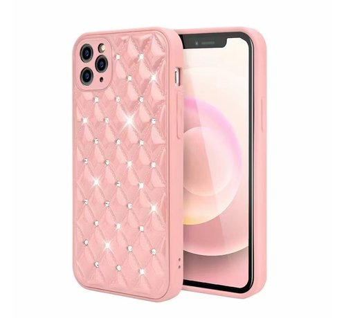 JVS Products iPhone 11 Pro Max Luxe Diamanten Back Cover Hoesje - Siliconen - Diamantpatroon - Back Cover - Apple iPhone 11 Pro Max - Roze