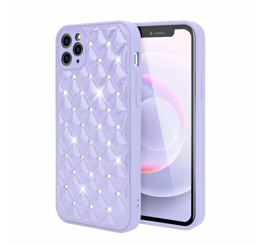 iPhone 11 Pro Max Luxe Diamanten Back Cover Hoesje - Siliconen - Diamantpatroon - Back Cover - Apple iPhone 11 Pro Max - Paars