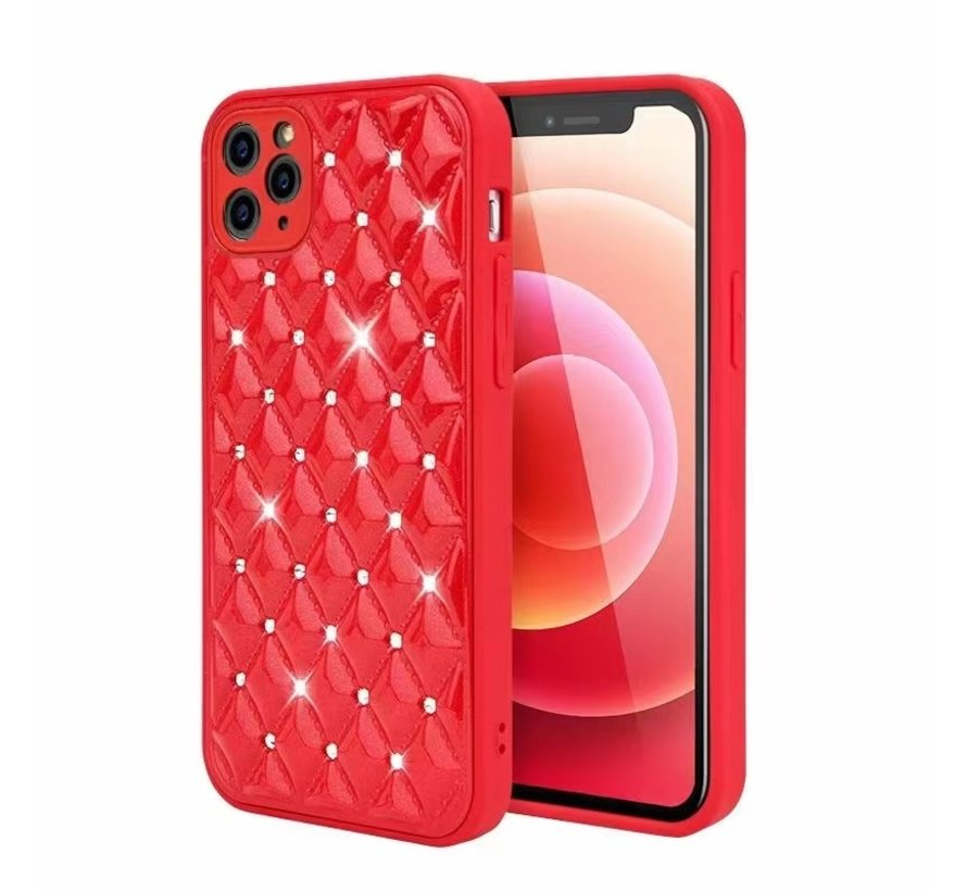 iPhone 12 Luxe Diamanten Back Cover Hoesje - Siliconen - Diamantpatroon - Back Cover - Apple iPhone 12 - Rood
