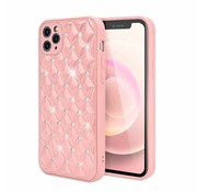 JVS Products iPhone 12 Pro Max Luxe Diamanten Back Cover Hoesje - Siliconen - Diamantpatroon - Back Cover - Apple iPhone 12 Pro Max - Roze