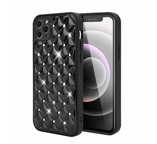 JVS Products iPhone 12 Pro Max Luxe Diamanten Back Cover Hoesje - Siliconen - Diamantpatroon - Back Cover - Apple iPhone 12 Pro Max - Zwart